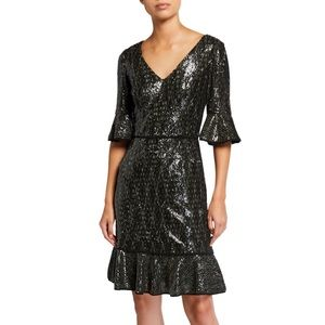 Shani V-Neck Sequin Dress with Flounce Size 2